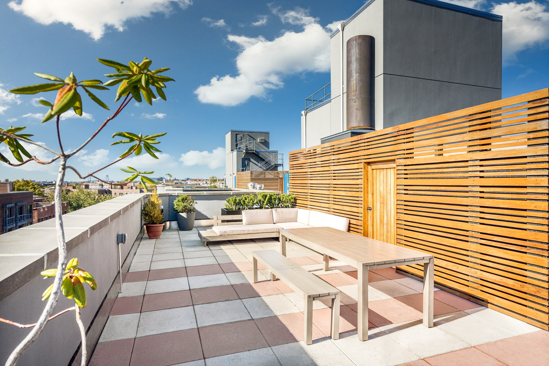 Rooftop terrace with seating